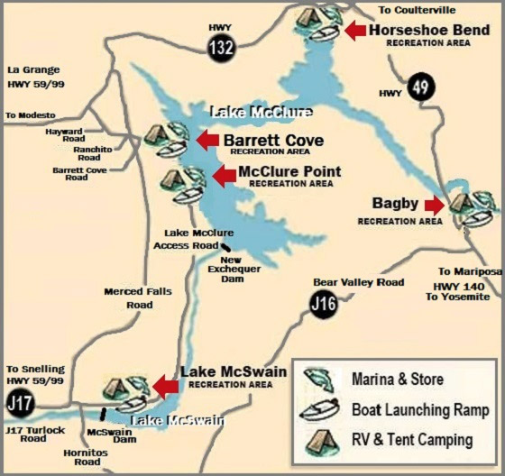 Lake McClure Map